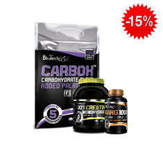 Stack BioTech - Carbox / 1000 gr. + BioTech - 100% Creatine Monohydrate / 500 gr. + BioTech - AAKG-1000 / 100 tab​