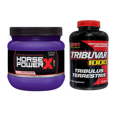 STACK Сила - SAN - Tribuvar 1000 / 90 tabs. + Ultimate Nutrition Horse Power® X   / 225 гр.​
