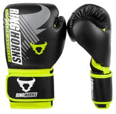 Боксови Ръкавици - Ringhorns Charger MX Boxing Gloves - Black/Neo Yellow