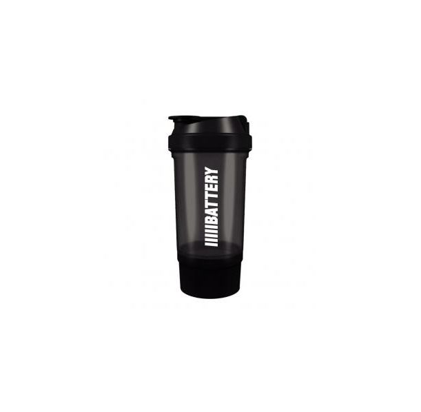 Battery Nutrition - Shaker Plus Black / 550 ml.​ - с отделение