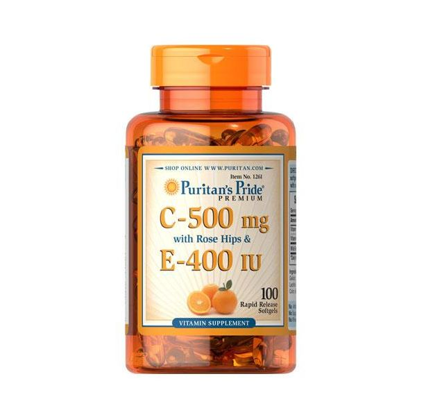 Puritan's Pride - Vitamin C E 500mg/400 IU Rose Hips / 100 таблетки​