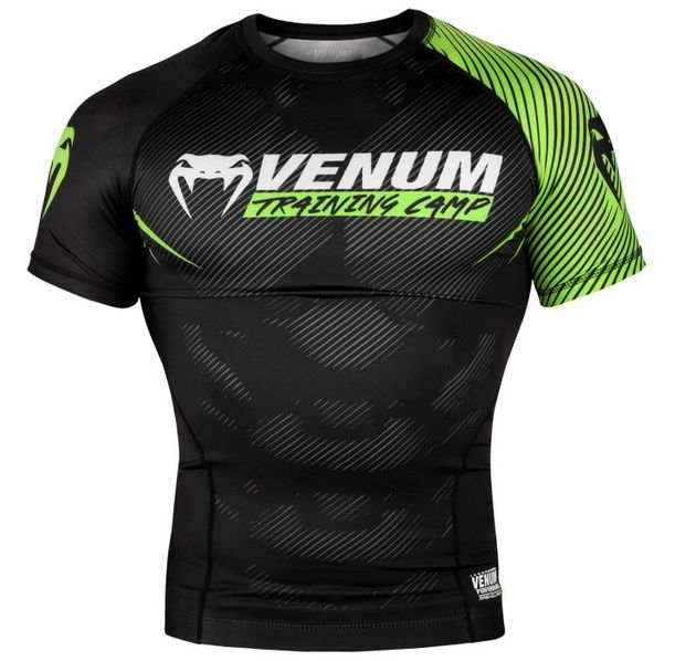 Рашгард - Venum Training Camp 2.0 Rashguard - Short Sleeves - Black/Neo Yellow​