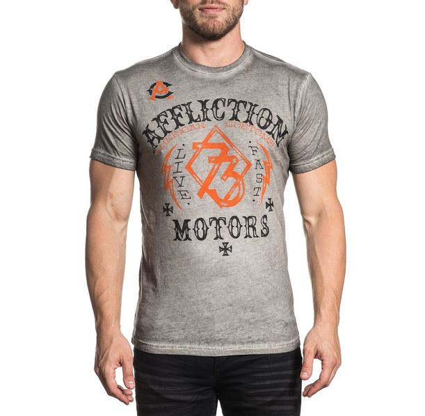 Affliction - Live Fast Motors / White Oil Stain