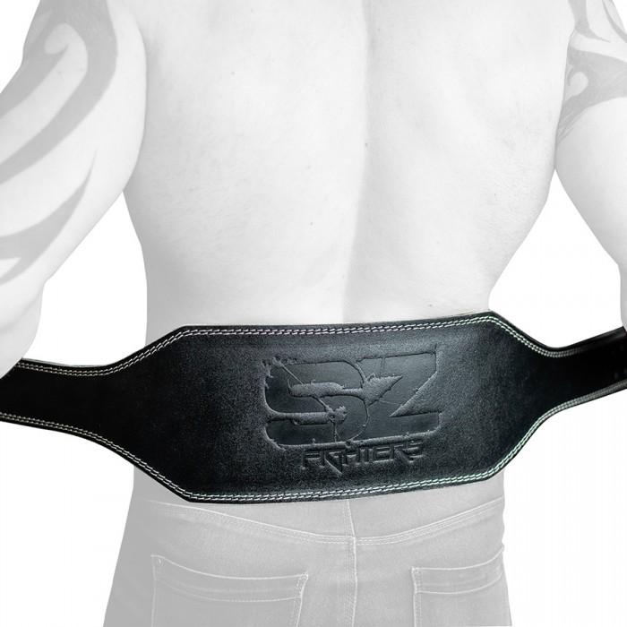 SZ Fighters - Фитнес колан от естествена кожа -15см ширина - Черен мат