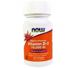 NOW - Vitamin D-3 10,000 IU - 120 капсули​
