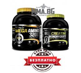 Biotech - Mega Amino 3200 / 500 tabs. + 100% Creatine Monohydrate / 300 gr. - БЕЗПЛАТНО Хранителни добавки, Аминокиселини, Креатинови продукти, Комплексни аминокиселини, Креатин Монохидрат
