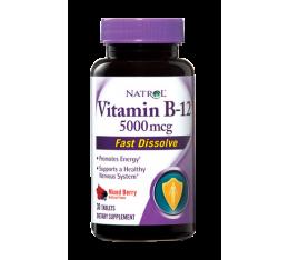 Natrol Vitamin B-12 Fast Dissolve 5000mcg / 100tabs. Хранителни добавки, Витамини, минерали и др., Витамин B
