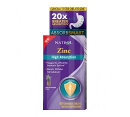 Natrol - Zinc High Absorption / 60 chew tabs. Хранителни добавки, Витамини, минерали и др.