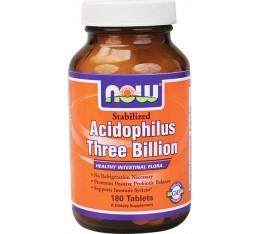 NOW - Stabilized Acidophilus Three Billion / 90 Tablets Хранителни добавки, Здраве и тонус, Пробиотици