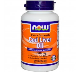 NOW - Cod Liver Oil 1000mg - 90 softgels Хранителни добавки, Здраве и тонус
