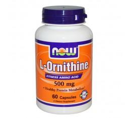 NOW - L-Ornithine 500 mg - 60 caps.  Хранителни добавки, Здраве и тонус