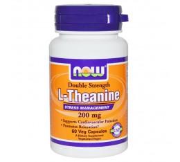 NOW - L-Theanine 200 mg - 60 caps.  Хранителни добавки, Здраве и тонус