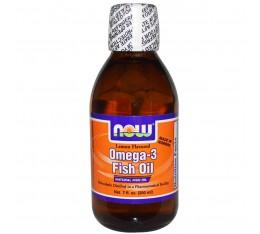 NOW - Omega 3 Fish Oil Liquid / 200ml - Lemon Хранителни добавки, Мастни киселини, Рибено масло