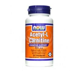 NOW - Acetyl L-Carnitine 500mg. / 50 VCaps. Хранителни добавки, Отслабване, Л-Карнитин