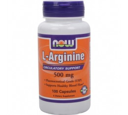 NOW - Arginine 500mg. / 100 caps. Хранителни добавки, Аминокиселини, Аргинин