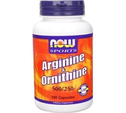 NOW - Arginine 500mg & Ornithine 250mg / 100 caps. Хранителни добавки, Аминокиселини, Аргинин, Орнитин