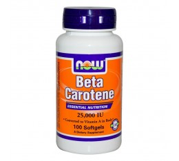 NOW - Beta Carotene 25 000 IU - 100 softgels. Хранителни добавки, Витамини, минерали и др., Витамин A