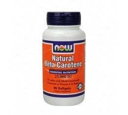 NOW - Beta Carotene Natural 25.000 IU / 90 softgels Хранителни добавки, Витамини, минерали и др., Витамин A