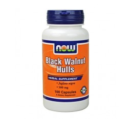 NOW - Black Walnut Hulls 500mg. / 100 caps. Хранителни добавки, На билкова основа