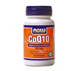 NOW - CoQ10 60mg. + Omega 3 Fish Oils 60mg. / 30 Softgels Хранителни добавки, Антиоксиданти, Мастни киселини, Коензим Q10, Омега 3-6-9