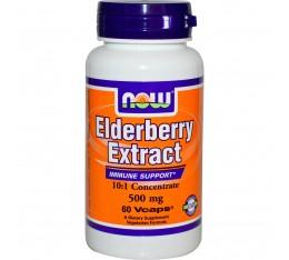 NOW - Elderberry Extract 500mg - 60 vcaps. Хранителни добавки, Здраве и тонус