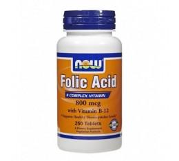 NOW - Folic Acid 800mcg. + B-12 25mcg. / 250 VegTabs. Хранителни добавки, Витамини, минерали и др., Витамин B