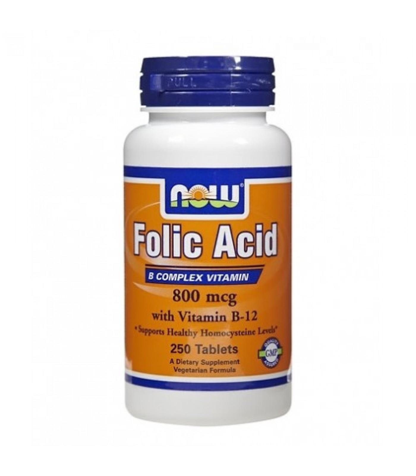 NOW - Folic Acid 800mcg. + B-12 25mcg. / 250 VegTabs.