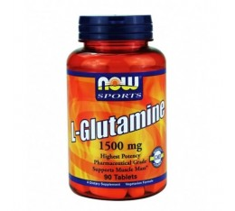 NOW - L-Glutamine 1500mg. / 90 Tabs. Хранителни добавки, Аминокиселини, Глутамин