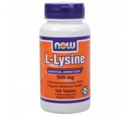 NOW - L-Lysine 500mg. / 100 Tabs. Хранителни добавки, Аминокиселини, Лизин