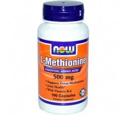 NOW - L-Methionine 500mg. / 100 Caps. Хранителни добавки, Аминокиселини, Метионин