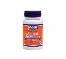 NOW - Natural Resveratrol (Mega Potency) 200mg. / 60 VCaps. Хранителни добавки, Антиоксиданти