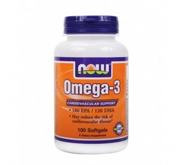 NOW - Omega 3 Fish Oil 1000 mg. / 100 Softgels Хранителни добавки, Мастни киселини, Рибено масло