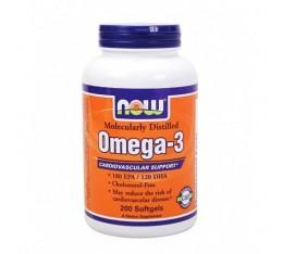 NOW - Omega 3 Fish Oil 1000 mg. / 200 Softgels Хранителни добавки, Мастни киселини, Рибено масло