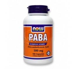 NOW - PABA 500mg. / 100 Caps. Хранителни добавки, Витамини, минерали и др., Витамин B