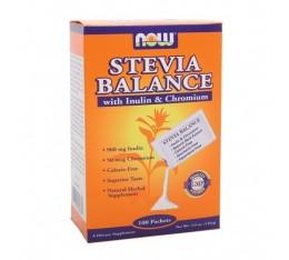 NOW - Stevia Balance with Inulin & Chromium / 100 Packs Хранителни добавки, Естествени подсладители, На билкова основа