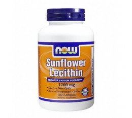 NOW - Sunflower Lecithin (Non-GMO) 1200mg. / 100 Softgels Хранителни добавки, Мастни киселини, Лецитин