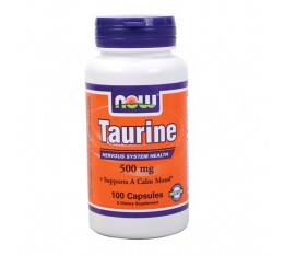 NOW - Taurine 500mg. / 100 Caps. Хранителни добавки, Аминокиселини, Таурин