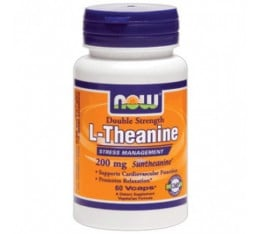 NOW - Theanine 100mg. / 90 Caps. Хранителни добавки, Аминокиселини, Тианин