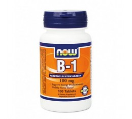 NOW - Vitamin B-1 (Thiamine) 100mg. / 100 Tabs. Хранителни добавки, Витамини, минерали и др., Витамин B