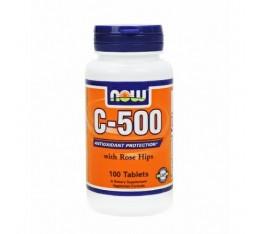 NOW - Vitamin C-500 (Rose Hips) / 100 Tabs. Хранителни добавки, Витамини, минерали и др., Витамин C