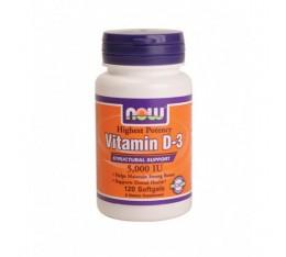 NOW - Vitamin D-3 / 5000 IU / 120 tab Хранителни добавки, Витамини, минерали и др., Витамин D