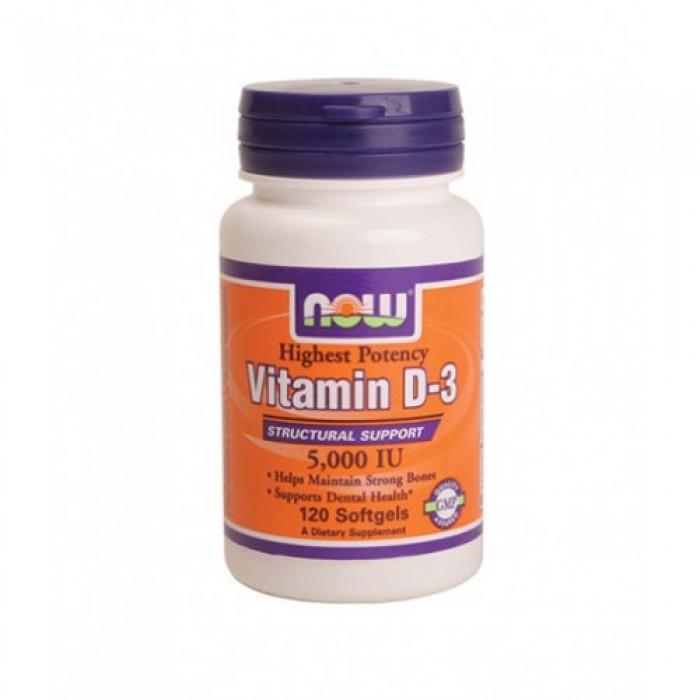 NOW - Vitamin D-3 / 5000 IU / 120 softgels