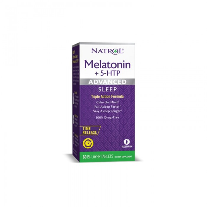 Natrol Advanced Sleep Melatonin + 5-HTP / 60 tabs.