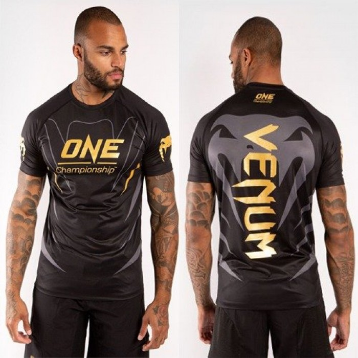 Тениска - Venum X ONE FC Dry Tech T-shirt - Black/Gold​