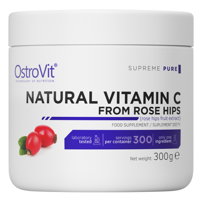 OstroVit Natural Vitamin C Powder / from Rose Hips / 300g