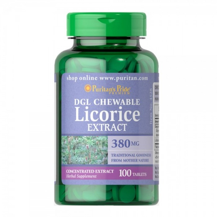 Puritan's Pride - DGL Licorice Extract 380 mg  / 100 таблетки​