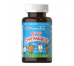 Пре-Витс МУЛТИВИТАМИНИ ЗА ДЕЦА, 100 дъвчащи таблетки със захароза