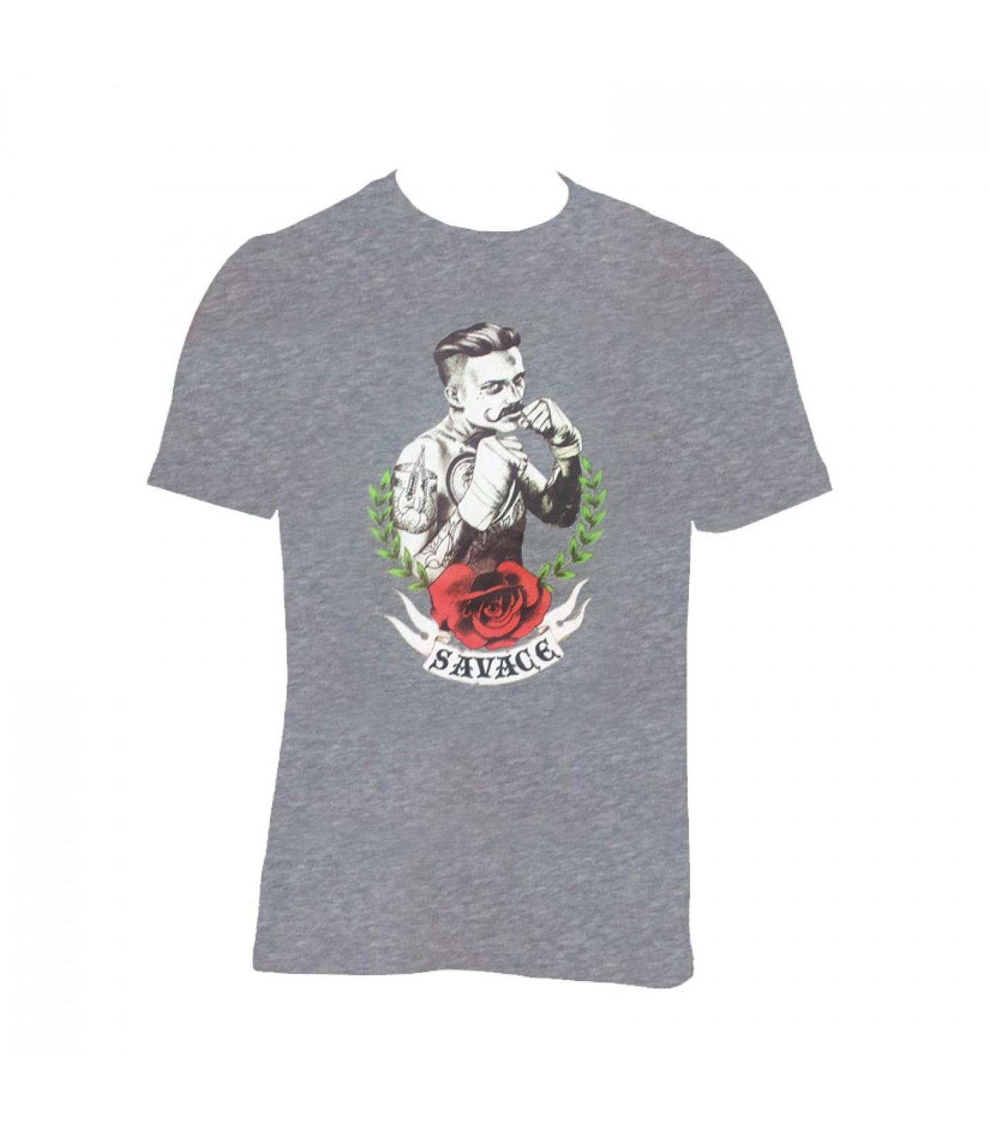 Тениска Savage 13 - сив меланж