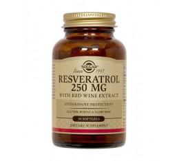 Solgar - Resveratrol 250mg / 30 Softgels Хранителни добавки, Антиоксиданти