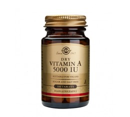 Solgar - Vitamin A 5000 IU dry tabs / 100 Tabs. Хранителни добавки, Витамини, минерали и др., Витамин A